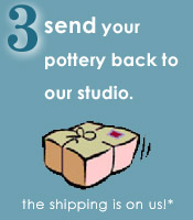 send your pottery back to our studio - the shipping is free!